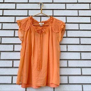 Sundance Peach Orange Silk Butterfly Blouse
